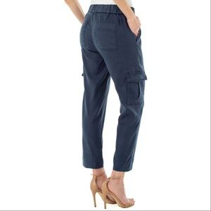 Audra Linen Cropped Cargo Pants Size 10 Navy